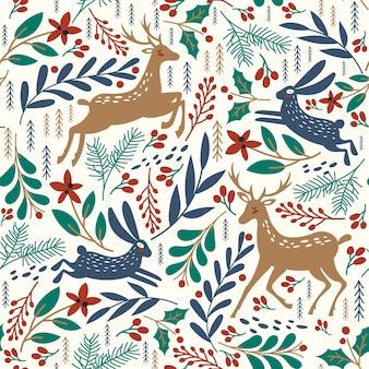 Бесшовный фон с оленями и кроликами. зимний фон.