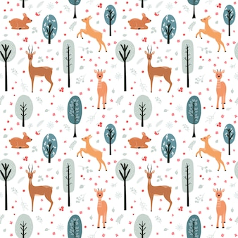 Seamless pattern with deer, doe, roe deer on the background of a tree, plant, bush and different elements.  illustration