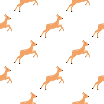 Seamless pattern with deer  illustration in the scandinavian style