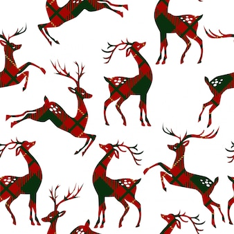Seamless pattern with deer on plaid background.
