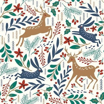 Seamless pattern with deer and rabbit. winter background.