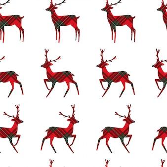 Seamless pattern with deer on tartan.