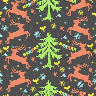 Seamless pattern with deers, christmas trees, birds.