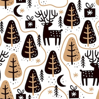 Seamless pattern with deers and christmas trees.