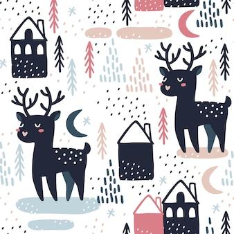 鹿とシームレスなパターン