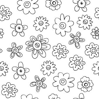 保育園の壁紙や紙や布の包装用の繊細な春の落書きの花とのシームレスなパターン。