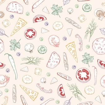 Seamless pattern with delicious pizza toppings or ingredients hand drawn with colorful contour lines on light background