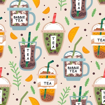 Seamless pattern with delicious vegan drinks tasty juices or smoothies made of berries