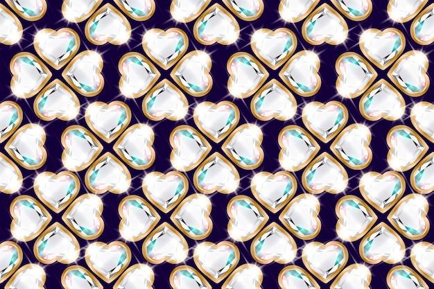 Бесшовный фон с бриллиантами в виде цветка в золотой оправе.