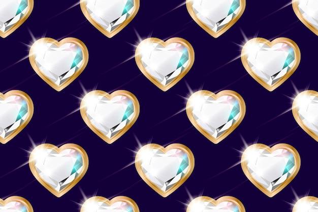 ゴールドフレームにハートの形をしたダイヤモンドとのシームレスなパターン。バレンタインデー、誕生日、女性の日、記念日の背景。暗い背景。バレンタイン、バナー、グリーティングカード用。