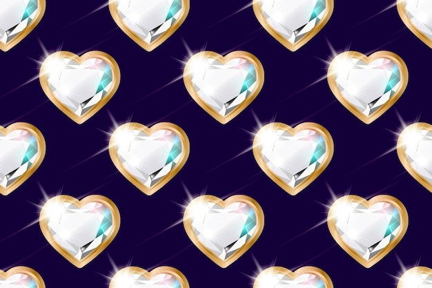 Seamless pattern with diamonds in the shape of a heart in a gold frame.