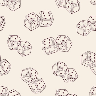 Seamless pattern with dice hand drawn with contour lines on light background.