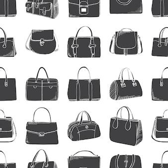 Бесшовный фон с различными сумками в стиле эскиза. векторная иллюстрация.
