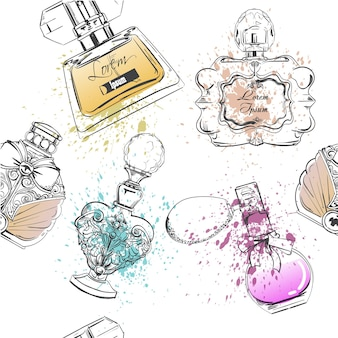 Seamless pattern with different bottles of perfumes
