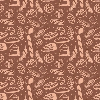 Seamless pattern with different breads vector illustration in handdrawn doodle style