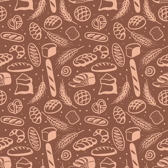 さまざまなパンとのシームレスなパターン手描き落書きスタイルのベクトル図