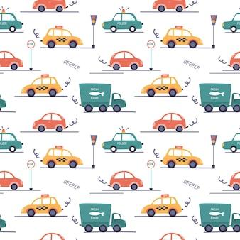 Бесшовный фон с разными автомобилями в детском стиле. такси, полиция, грузовики и дорожные знаки.