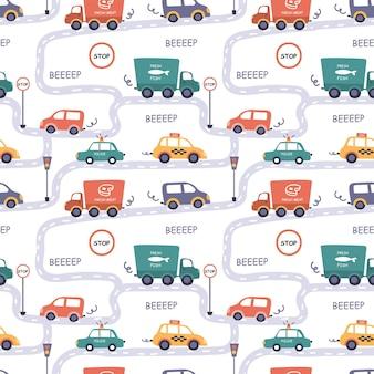 漫画のスタイルでさまざまな車とのシームレスなパターン。道路上のタクシー、警察、トラック、道路標識。