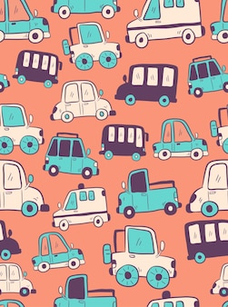 Seamless pattern with different cars