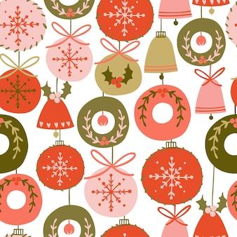 さまざまなクリスマスツリーの装飾とシームレスなパターンボールベルさまざまな色