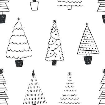Seamless pattern with different christmas trees or spruces drawn with black contour lines on white background. backdrop with coniferous forest or wood. monochrome vector illustration in doodle style.