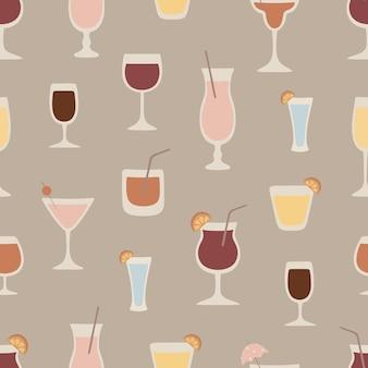 さまざまなカクテルとのシームレスなパターンワインシャンパンウォッカマルガリータマティーニ