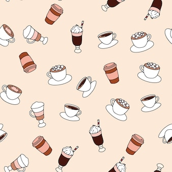 Seamless pattern with different coffee, print for bakery shop products. doodle style.