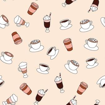 さまざまなコーヒーとのシームレスなパターン、ベーカリーショップ製品のプリント。落書きスタイル。