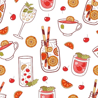 Seamless pattern with different color beverages