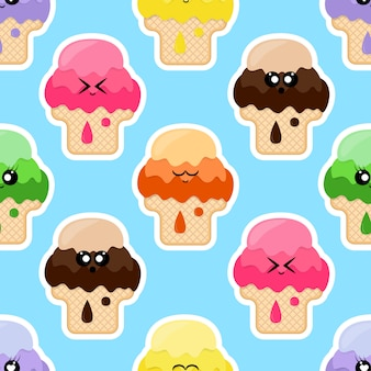 Seamless pattern with different colors ice cream with emoji