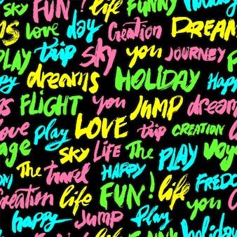Бесшовный фон с разными цветами слов любовь, веселье, небо, путешествия, праздник и другие. современная каллиграфия иллюстрации. ручной обращается позитивный бесшовный фон