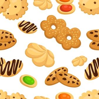 Бесшовный фон с различными печеньями в мультяшном стиле на белом фоне страницы веб-сайта и мобильного приложения