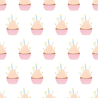 Seamless pattern with different cupcakes on a white background.