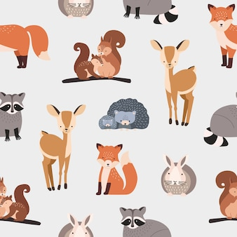 Seamless pattern with different cute cartoon forest animals