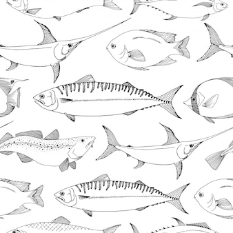 Seamless pattern with different fishes.