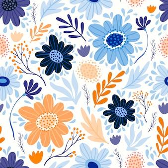 Бесшовный фон с разными цветами и растениями