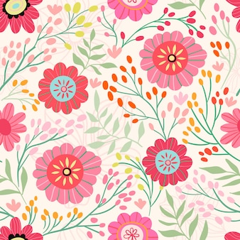 Seamless pattern with different flowers in bloom and plants