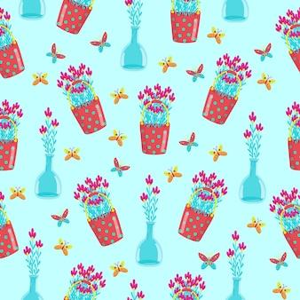 냄비에 다른 꽃과 함께 완벽 한 패턴 빨간 양동이 벡터에 데이지를 그립니다