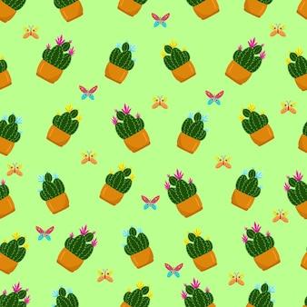 냄비 손 그리기 벡터에 다른 꽃과 함께 완벽 한 패턴