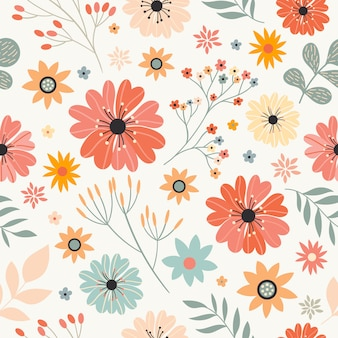 Seamless pattern with different flowers and plants, white