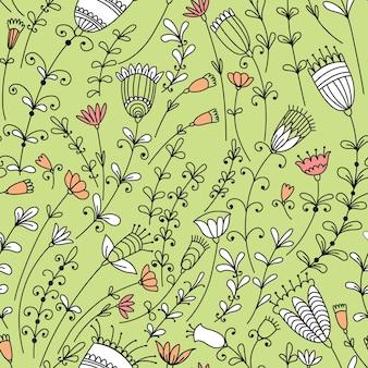 さまざまな花とのシームレスなパターン