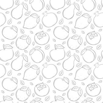 さまざまな果物やベリーとのシームレスなパターン。黒と白の手描きの線形要素
