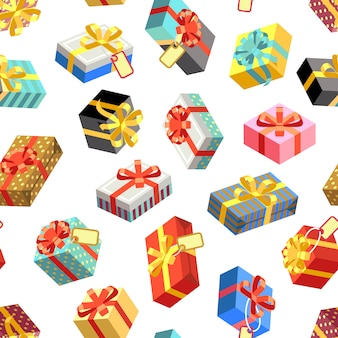 Seamless pattern with different giftboxes colored. flat-style vector illustration. gift seamless pattern, holiday birthday package gift box