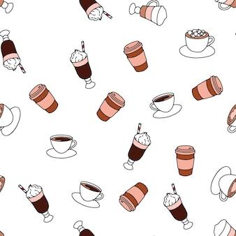 さまざまなホットドリンクとのシームレスなパターン、ベーカリーショップ製品のプリント。落書きスタイル。白色の背景。
