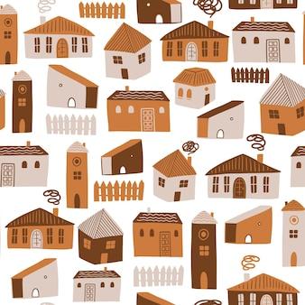 別の家とのシームレスなパターンかわいいベクトルイラスト