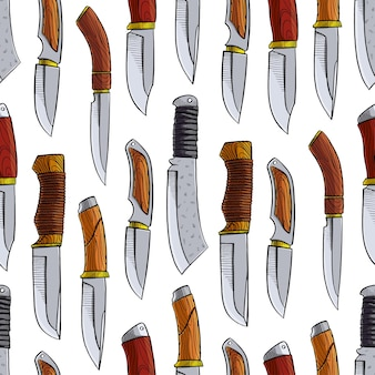 다른 사냥 칼으로 완벽 한 패턴입니다. 손으로 그린 그림