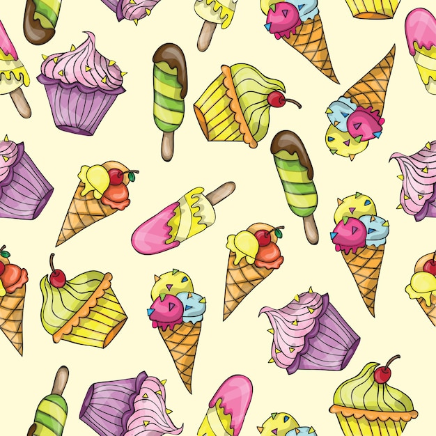 Seamless pattern with different ice cream - vector set of ice-cream