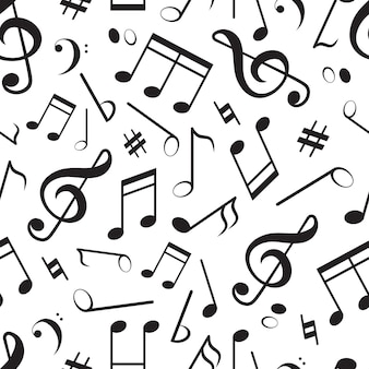 Бесшовный фон с различными музыкальными нотами.