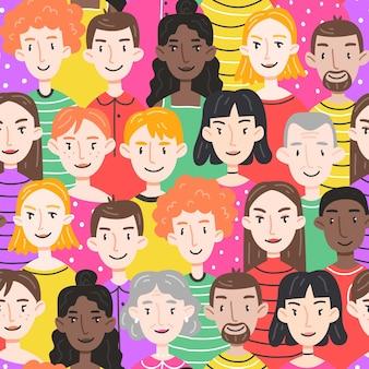 さまざまな年齢のさまざまな人々の男性と女性とのシームレスなパターン。ベクトルイラスト。壁紙、パッケージ、衣類のデザイン。