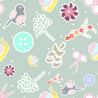 Seamless pattern with different sticker elements